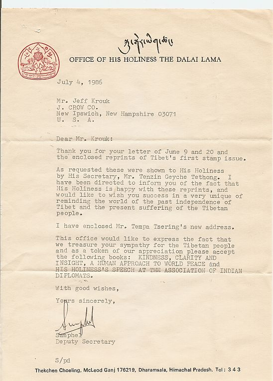 Letter from the Office of His Holiness The Dalia Lama regarding J.Crow's® Tibet Stamp Reprints